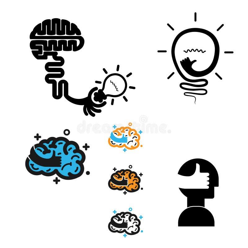 Icono creativo del vector del diseño del logotipo del cerebro con la mejor muestra de la mano best ilustración del vector