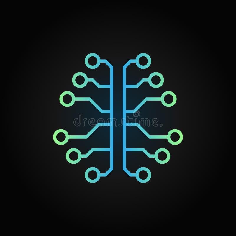 Icono creativo del vector del esquema del cerebro de la inteligencia artificial ilustración del vector