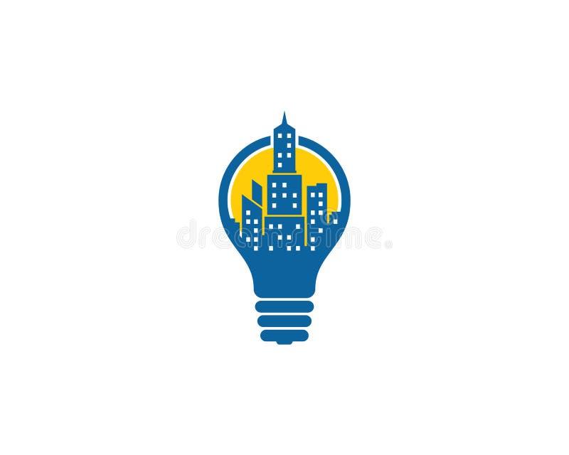 Icono creativo Logo Design Element de la ciudad de la idea ilustración del vector