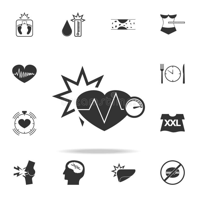 icono creciente de la presión arterial Sistema detallado de iconos de la obesidad Diseño gráfico superior Uno de los iconos de la ilustración del vector