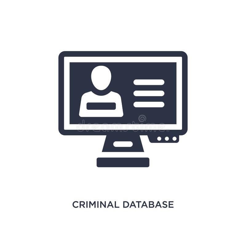 icono criminal de la base de datos en el fondo blanco Ejemplo simple del elemento del concepto de la ley y de la justicia ilustración del vector