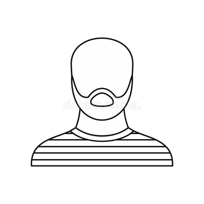 Icono criminal del prisioner del ladrón, estilo del esquema ilustración del vector