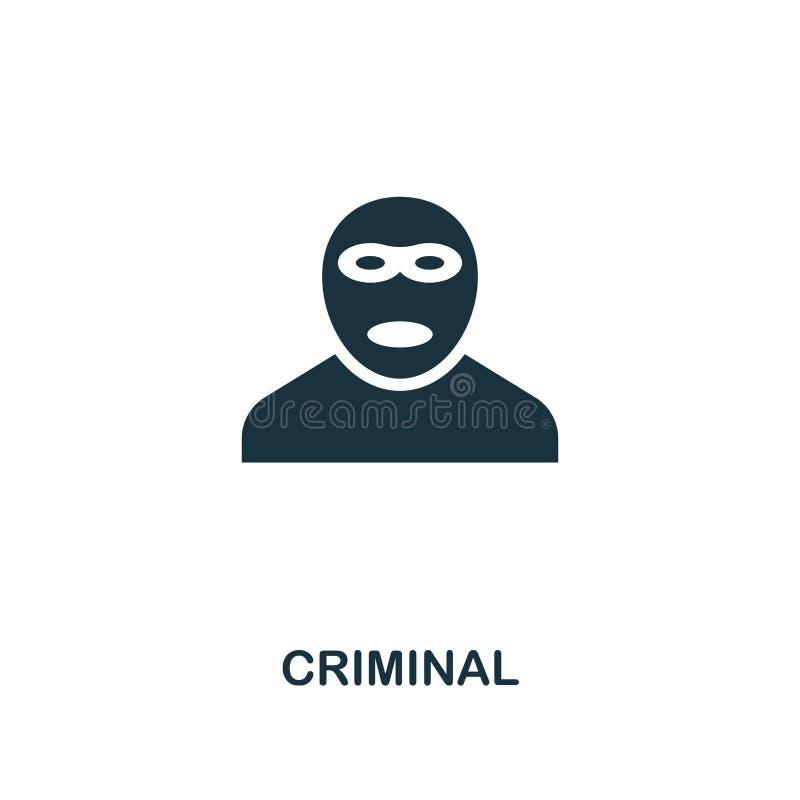 Icono criminal Diseño superior del estilo de la colección del icono de la seguridad UI y UX Icono criminal perfecto para el diseñ ilustración del vector