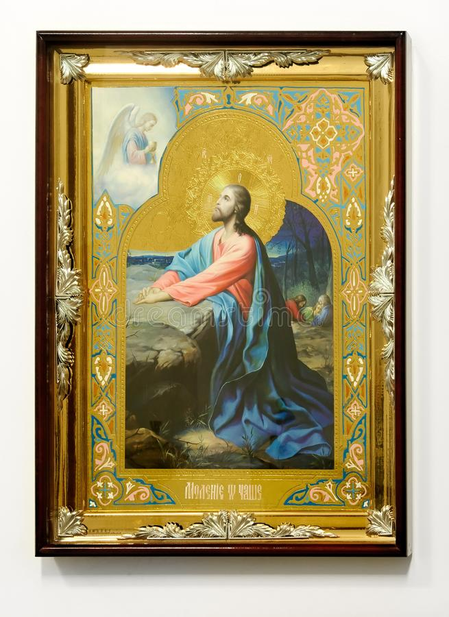 Icono cristiano de madera en el fondo blanco imágenes de archivo libres de regalías