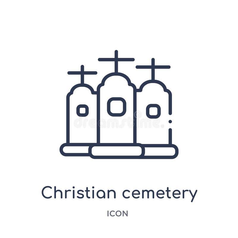 Icono cristiano linear del cementerio de la colección del esquema de los edificios Línea fina vector cristiano del cementerio ais stock de ilustración