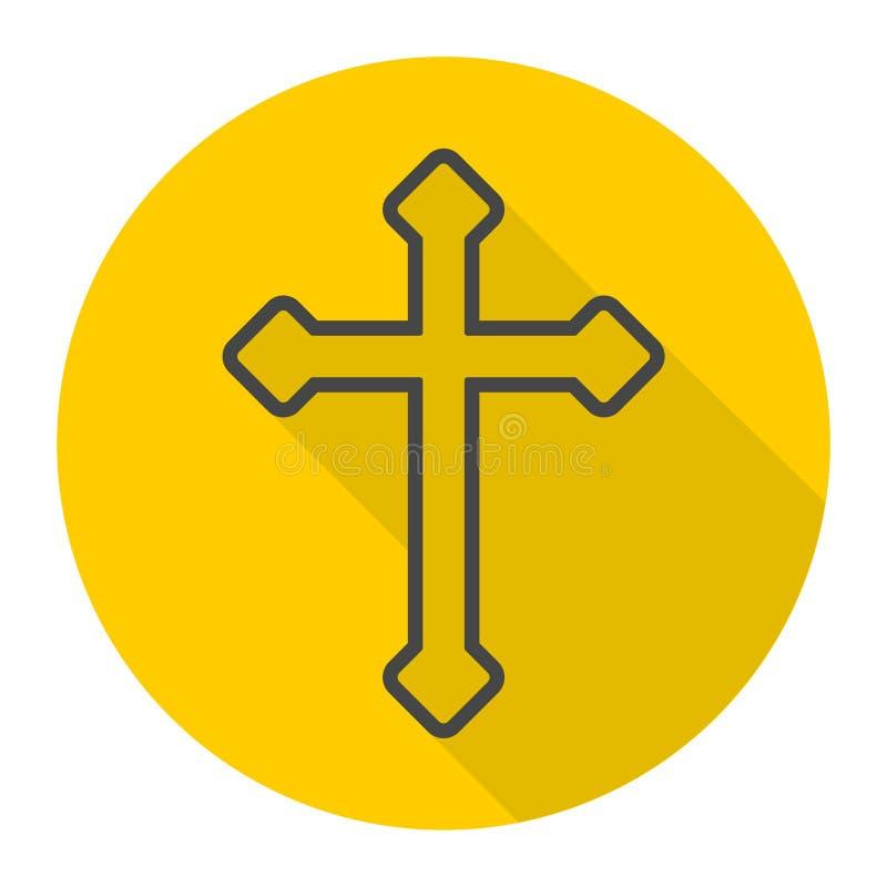 Icono cruzado cristiano decorativo stock de ilustración