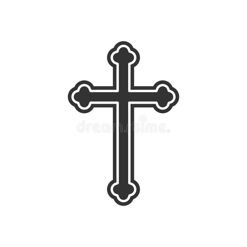 Icono cruzado de la religión ilustración del vector