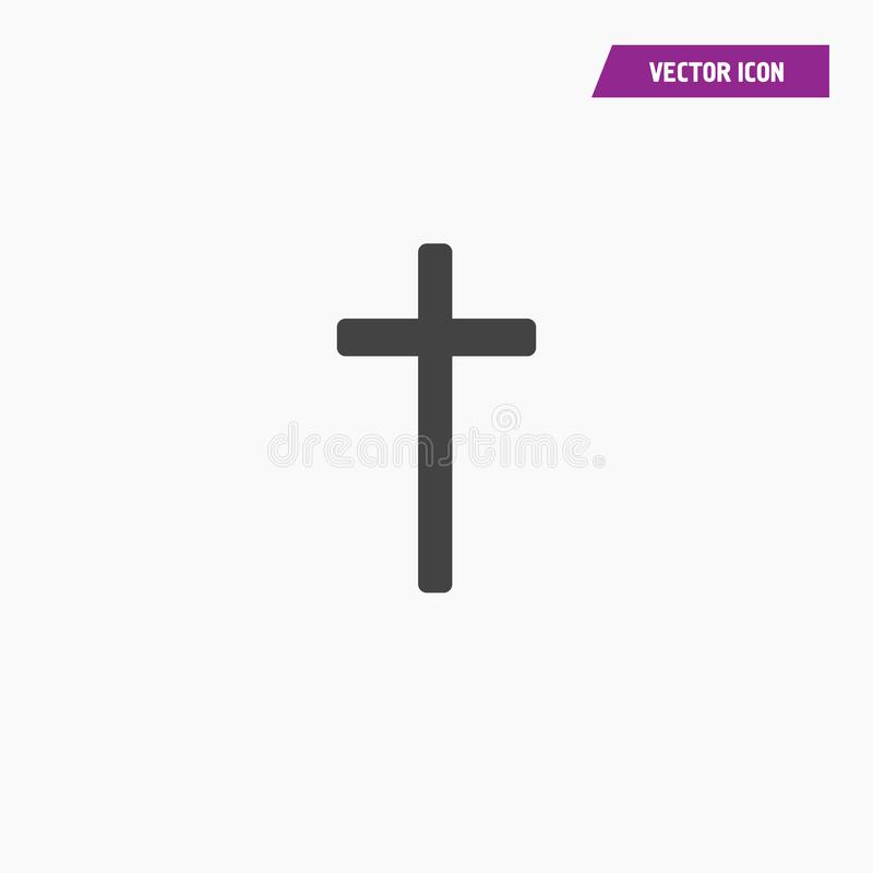 Icono cruzado de la religi?n cristiana s?lida negra stock de ilustración