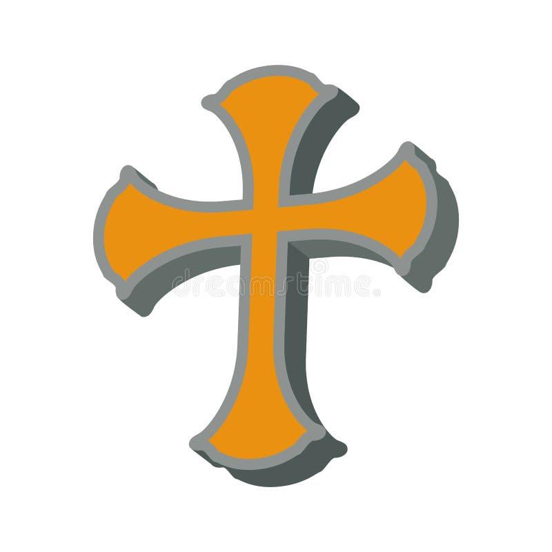 Icono cruzado de la religión de la creencia de dios de la forma Gráfico de vector libre illustration