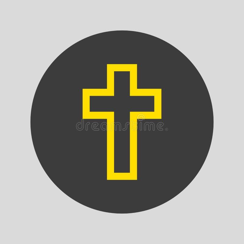 Icono cruzado de la religión en fondo gris stock de ilustración