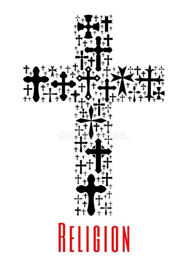 Icono cruzado del cristianismo Símbolo de la religión libre illustration