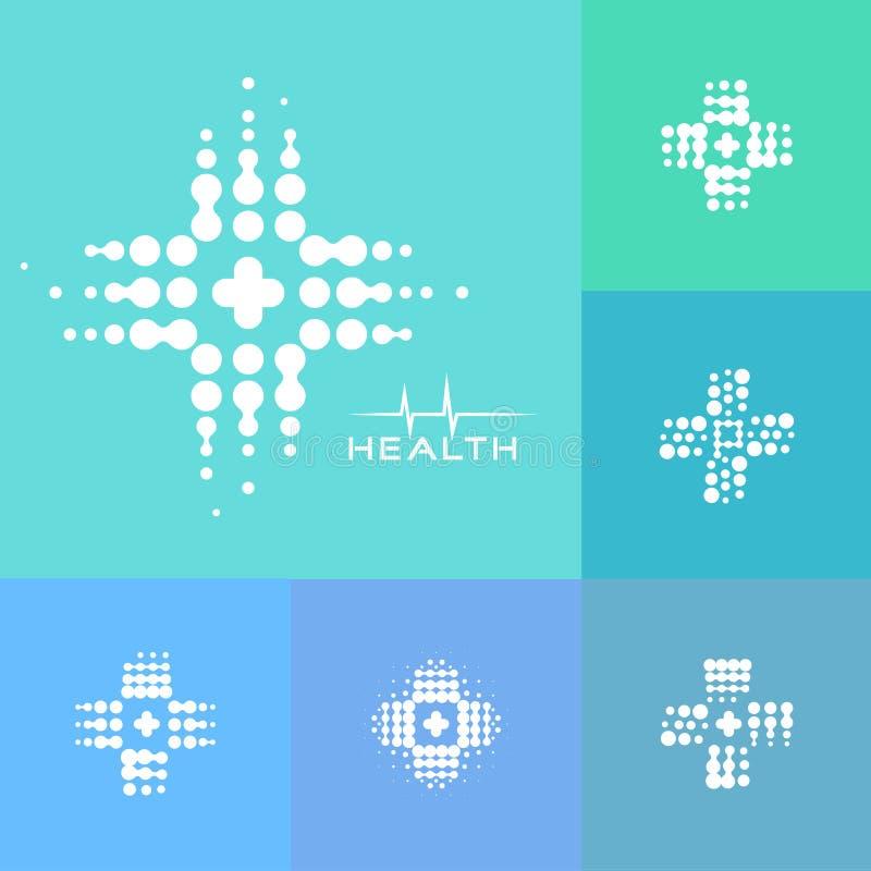 Icono cruzado médico de semitono abstracto, diseño moderno, nueva tecnología médica, logotipo de la farmacia, eqipment del labora ilustración del vector
