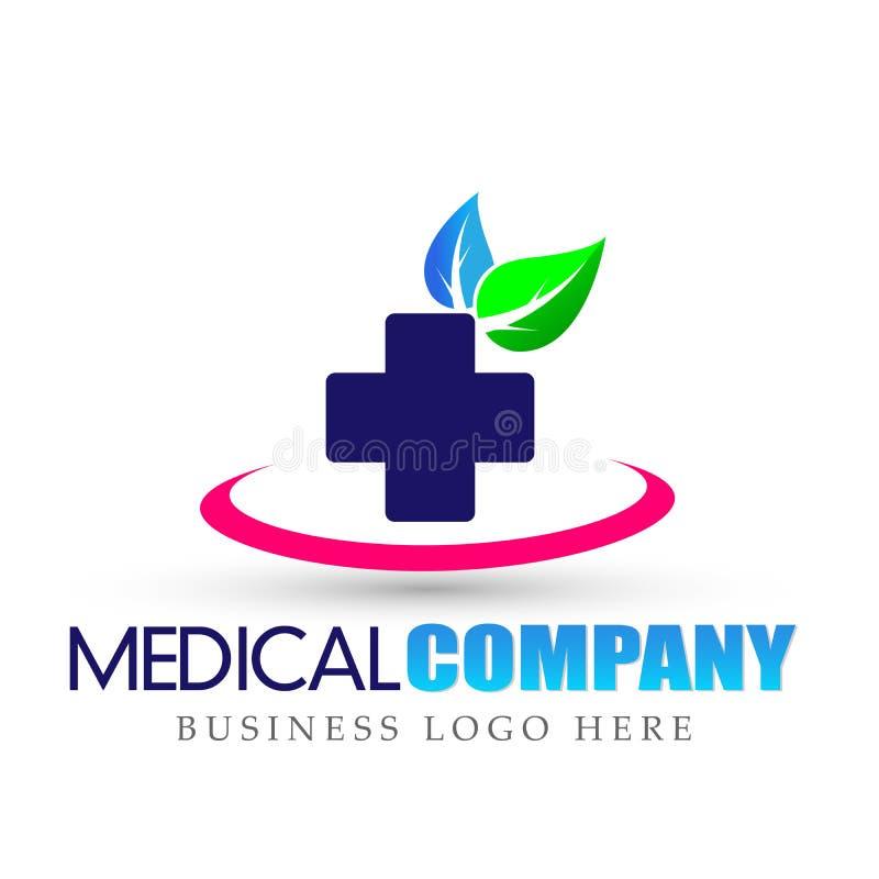 Icono cruzado médico del logotipo de la hoja de la naturaleza de la atención sanitaria en el fondo blanco stock de ilustración