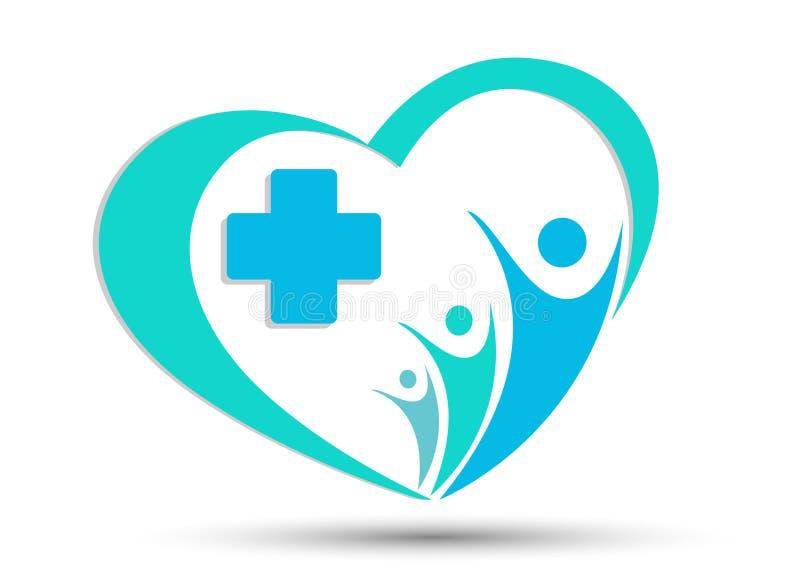 Icono cruzado médico del logotipo de la salud de la familia del corazón ilustración del vector