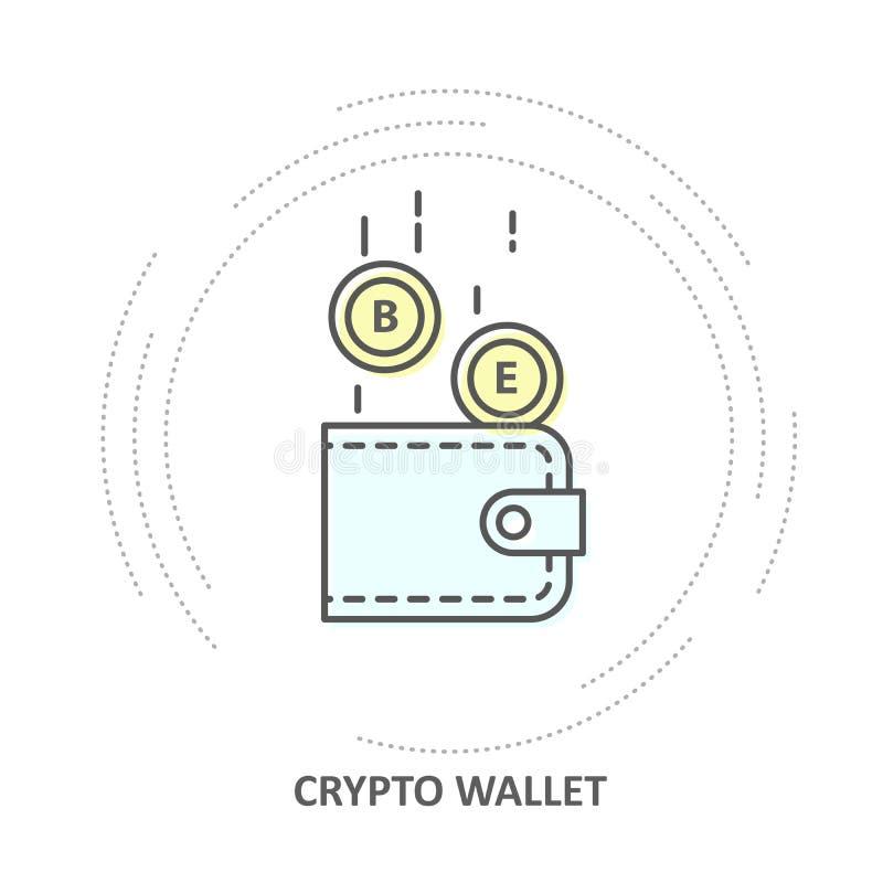 Icono Crypto de la cartera - las monedas caen en la cartera del cryptocurrency stock de ilustración