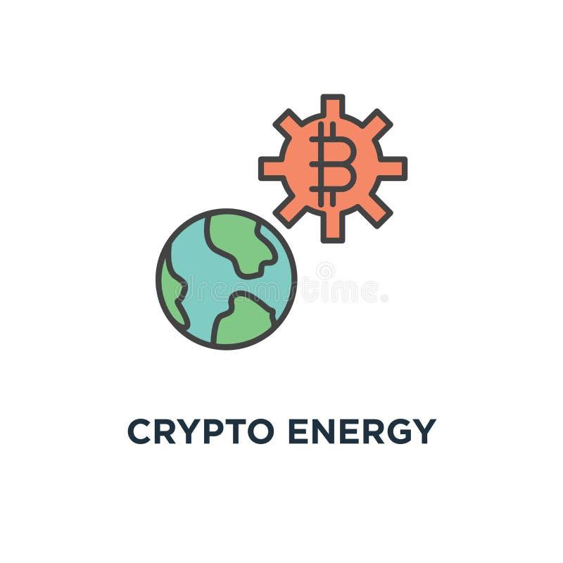 icono crypto de la energía diseño crypto del símbolo del concepto de la tecnología de la moneda, poder del blockchain, explotació ilustración del vector