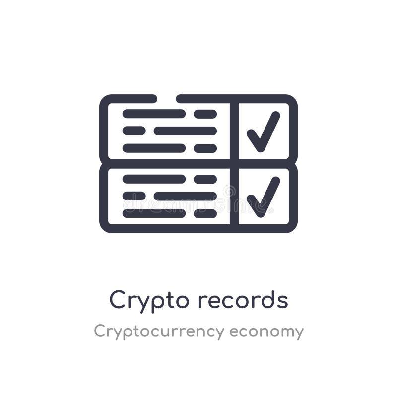 icono crypto del esquema de los expedientes l?nea aislada ejemplo del vector de la colecci?n de la econom?a del cryptocurrency mo stock de ilustración
