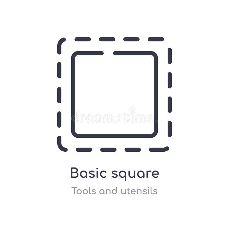 icono cuadrado básico del esquema l?nea aislada ejemplo del vector de la colecci?n de las herramientas y de los utensilios cuadra libre illustration