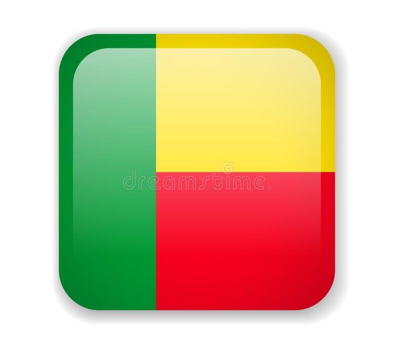 Icono cuadrado brillante de la bandera de Benin en un fondo blanco ilustración del vector