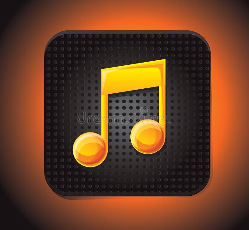 Icono cuadrado de la aplicación con la nota de la música ilustración del vector