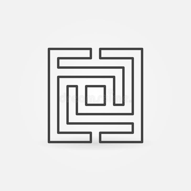 Icono cuadrado del laberinto o del laberinto stock de ilustración
