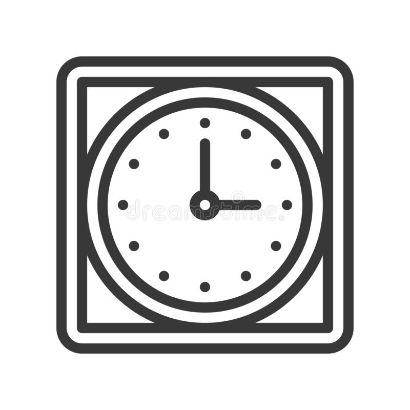 Icono cuadrado del reloj de pared, pixel editable del movimiento del diseño del esquema por libre illustration