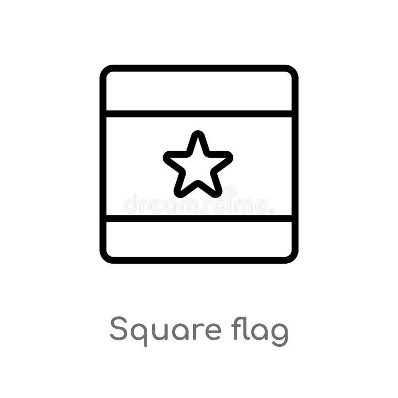 icono cuadrado del vector de la bandera del esquema línea simple negra aislada ejemplo del elemento de mapas y del concepto de la ilustración del vector