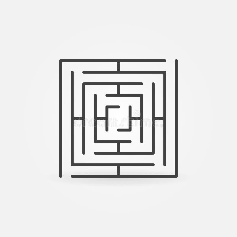 Icono cuadrado del vector del laberinto libre illustration