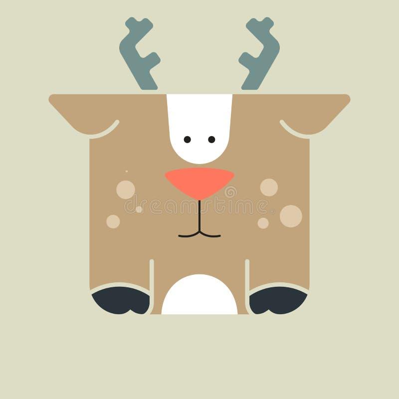 Icono cuadrado plano de un ciervo lindo libre illustration