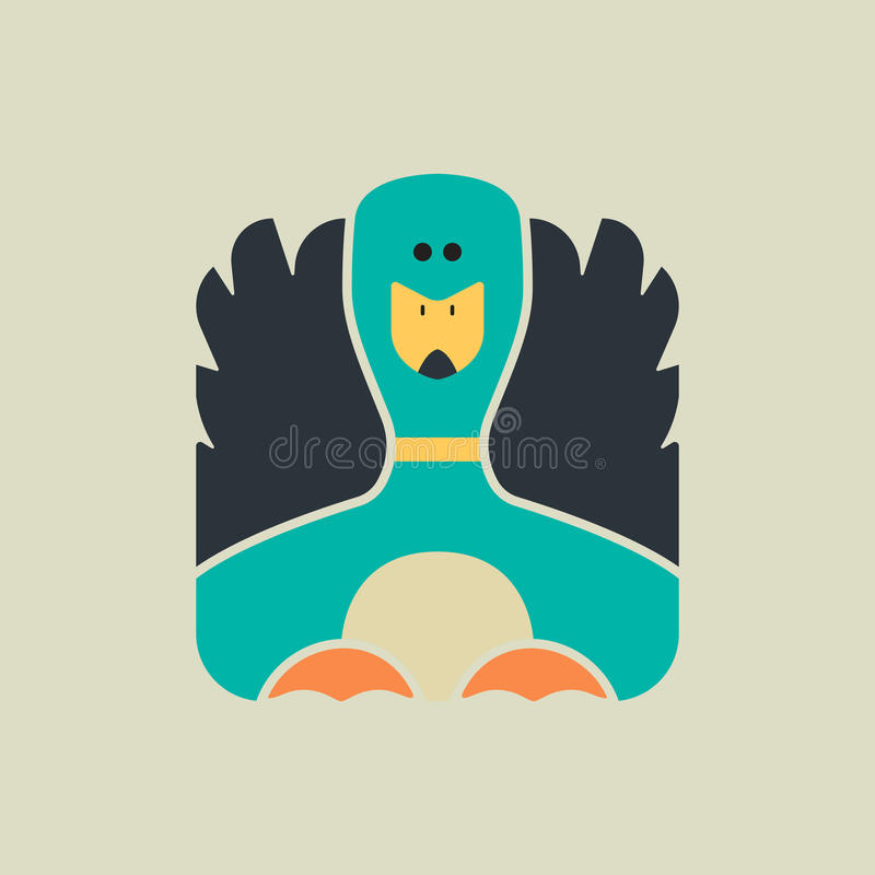 Icono cuadrado plano de un pato lindo stock de ilustración
