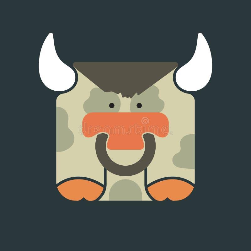 Icono cuadrado plano de un toro lindo stock de ilustración