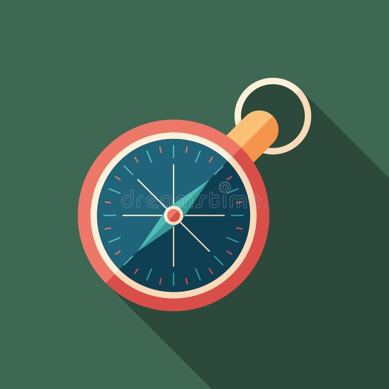 Icono cuadrado plano del compás retro con las sombras largas stock de ilustración