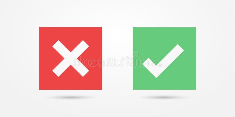 Icono cuadrado rojo y verde de la marca de verificación del icono aislado en fondo transparente Apruebe y cancele el símbolo para ilustración del vector