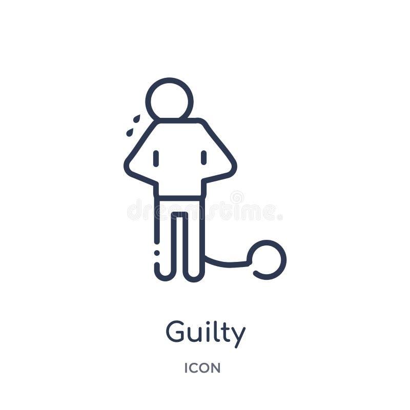 Icono culpable linear de la colección del esquema de la ley y de la justicia Línea fina icono culpable aislado en el fondo blanco stock de ilustración