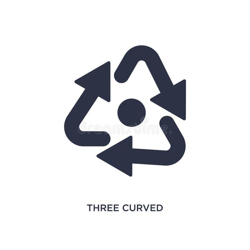icono curvado de tres flechas en el fondo blanco Ejemplo simple del elemento del concepto de las flechas ilustración del vector