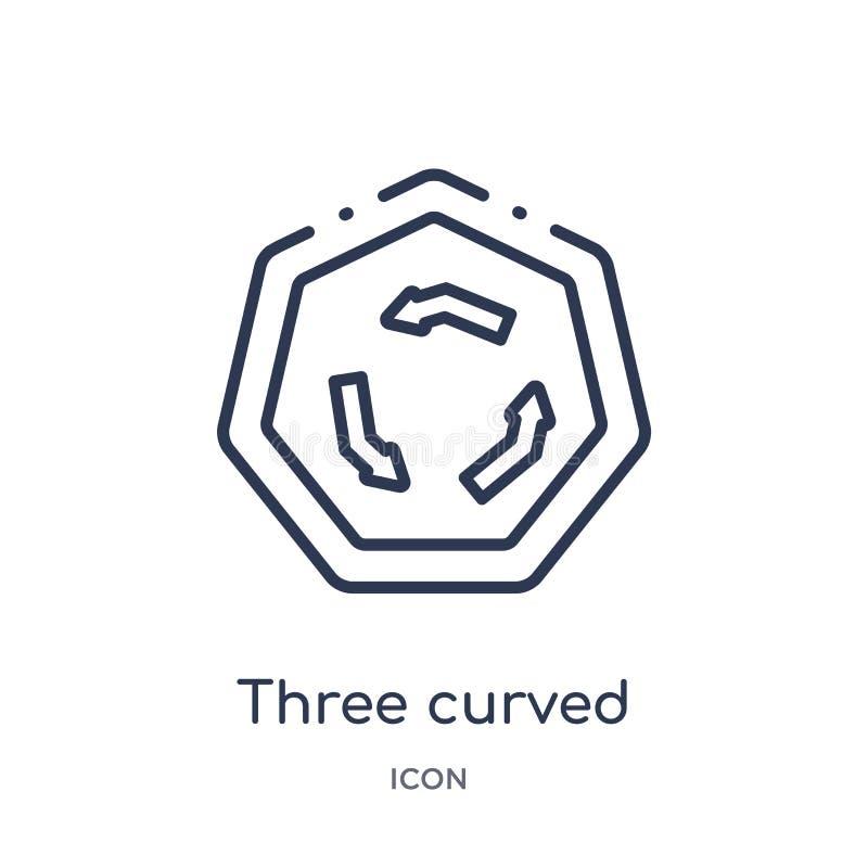 Icono curvado linear de tres flechas de la colección del esquema de las flechas Línea fina tres vector curvado de las flechas ais libre illustration