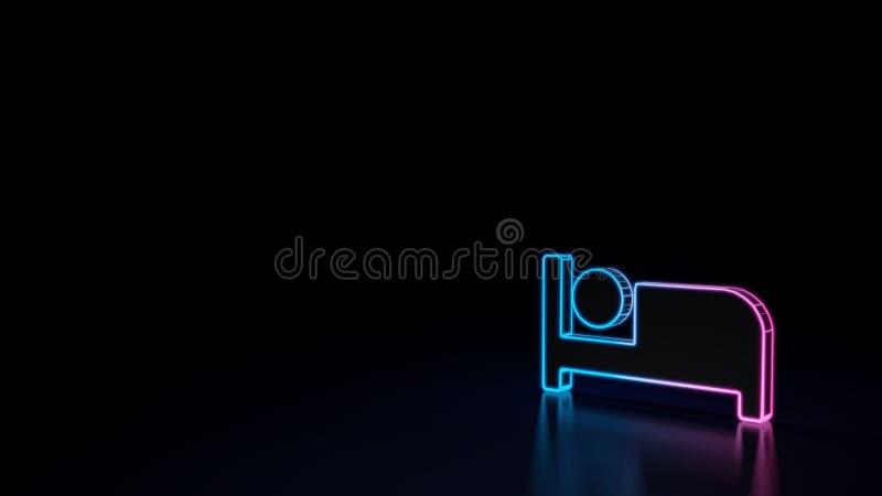 icono 3d de la cama ilustración del vector