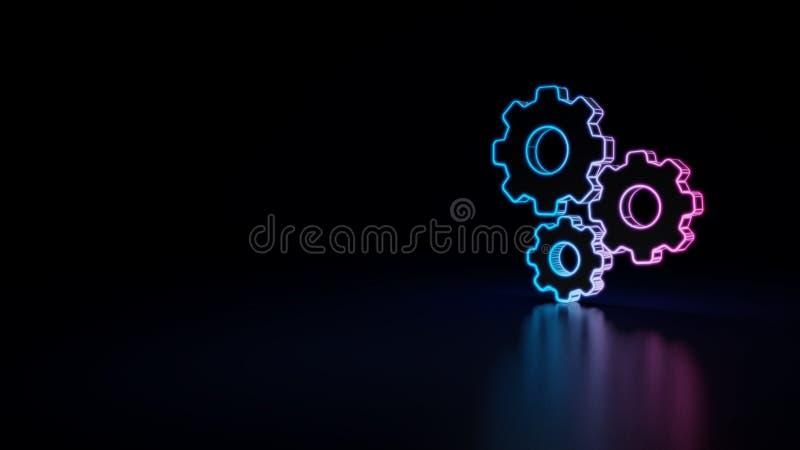 icono 3d de los engranajes de los ajustes stock de ilustración