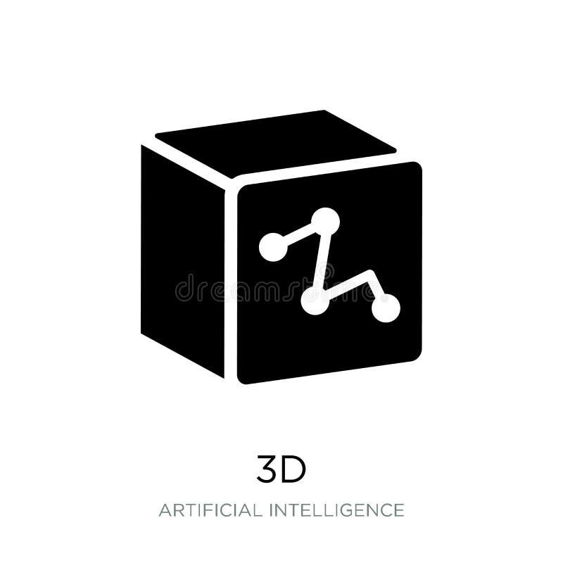 icono 3d en estilo de moda del diseño icono 3D aislado en el fondo blanco símbolo plano simple y moderno del icono del vector 3d  stock de ilustración