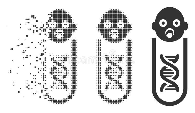 Icono dañado análisis genético del tono medio del pixel del bebé libre illustration