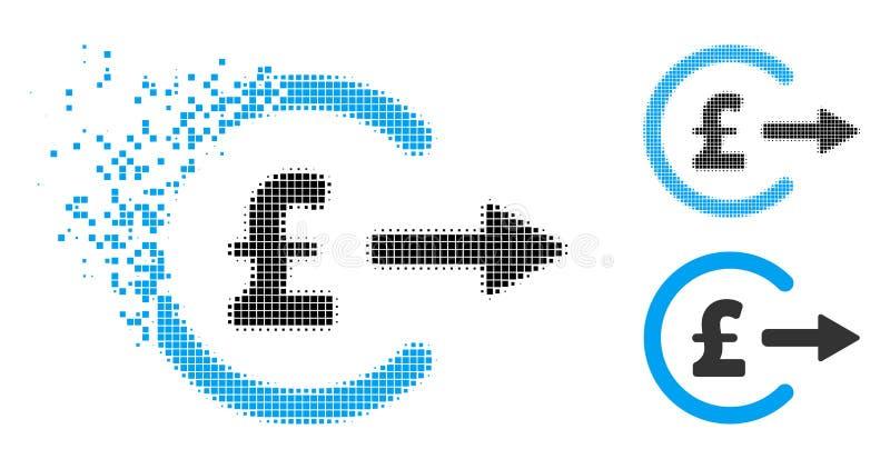 Icono dañado de Dot Halftone Pound Cash Out ilustración del vector