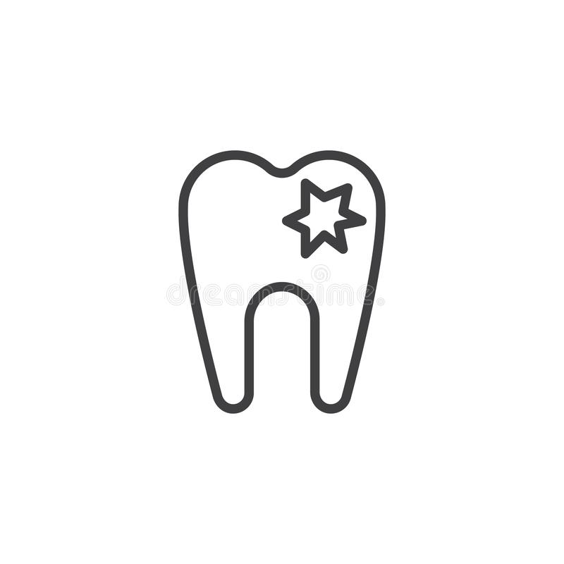 Icono dañado del esquema del diente ilustración del vector