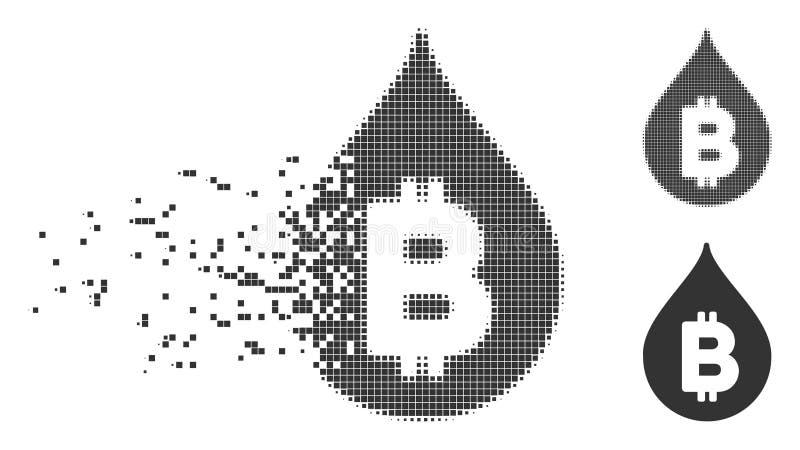 Icono dañado descenso del pixel de Bitcoin stock de ilustración