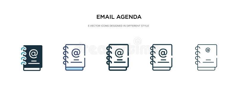 Icono de agenda de correo electrónico en ilustración vectorial de estilo diferente dos iconos vectoriales de agenda de correo ele stock de ilustración
