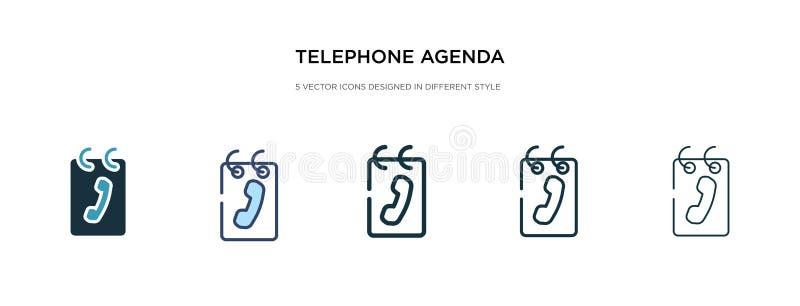 Icono de agenda telefónica en ilustración vectorial de estilo diferente dos iconos vectoriales de agenda de teléfonos negros y co stock de ilustración