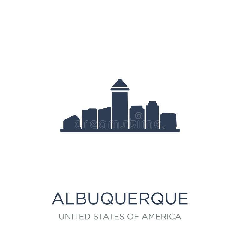 icono de Albuquerque Icono plano de moda de Albuquerque del vector en b blanco stock de ilustración