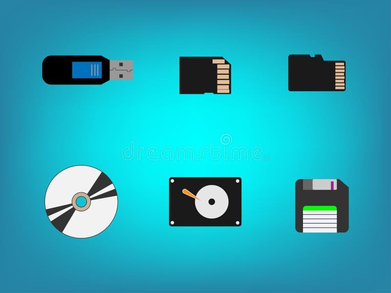 Icono de almacenamiento de Flash Drive stock de ilustración