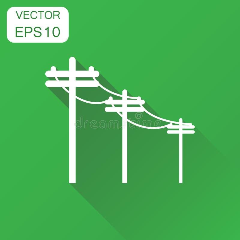 Icono de alto voltaje de las líneas eléctricas Polo eléctrico del concepto del negocio stock de ilustración