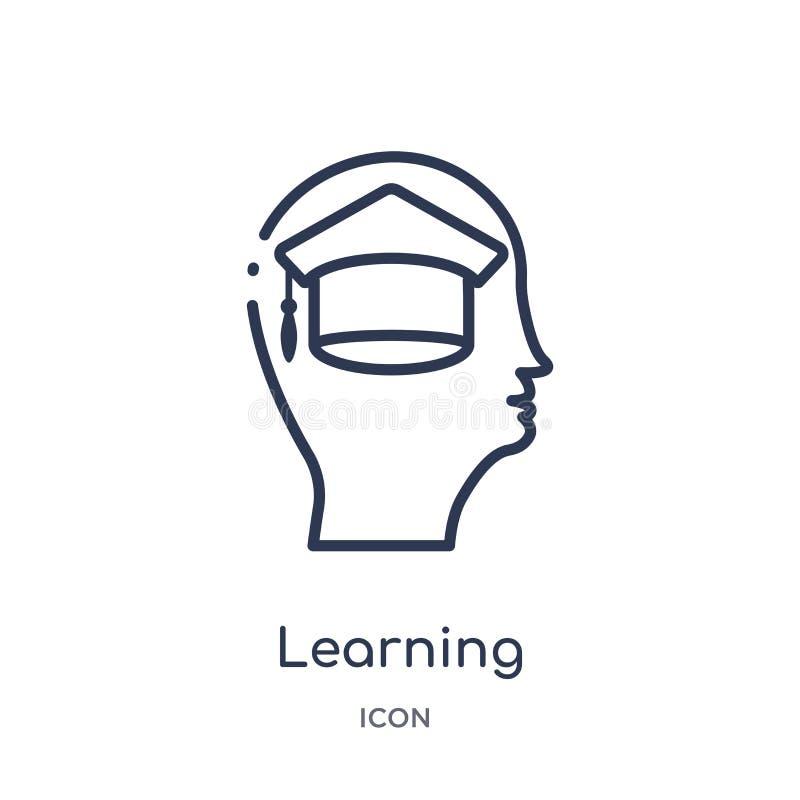 Icono de aprendizaje linear de la colección del esquema del proceso del cerebro Línea fina que aprende el vector aislado en el fo libre illustration