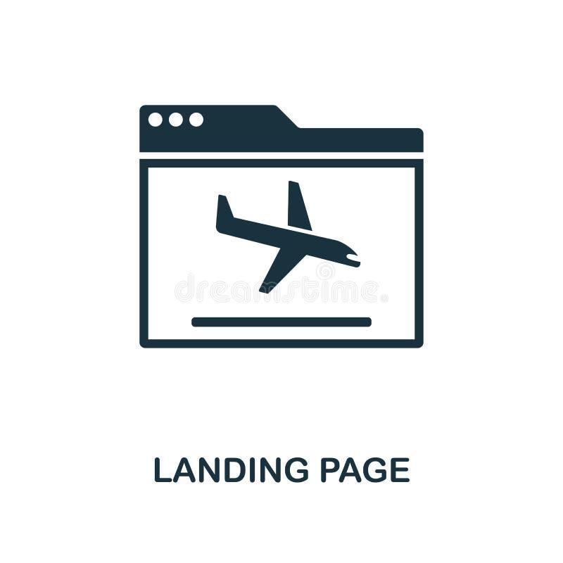 Icono de aterrizaje de la página Diseño monocromático del estilo de la colección del icono del smm Ui E DES de la web ilustración del vector